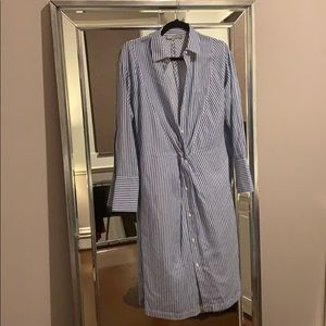 Vince Stripe Shirt Dress w/ Twist Front
